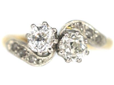 Edwardian 18ct Gold & Platinum, Two Stone Crossover Diamond Ring