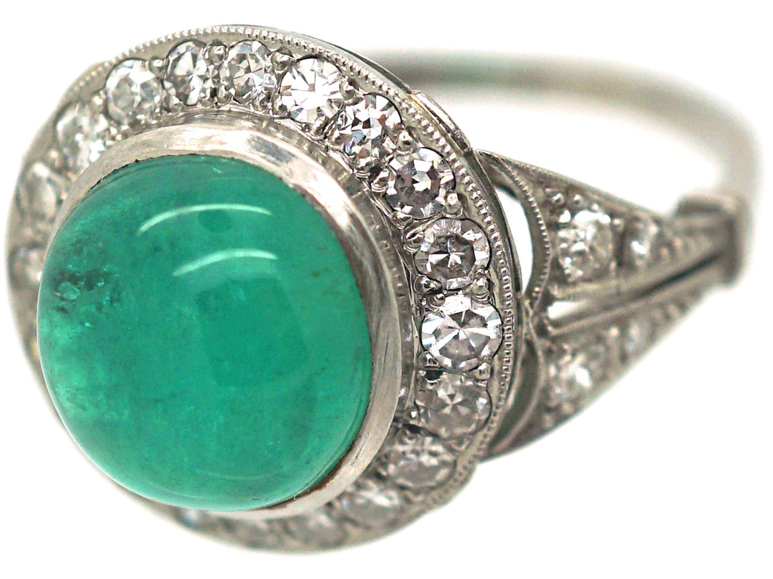 Art Deco Platinum, Cabochon Emerald & Diamond Ring
