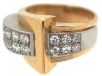 French 18ct Gold & Diamond Set Cocktail Ring