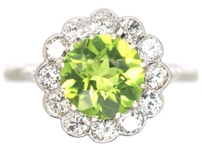 Edwardian 18ct White Gold & Platinum, Peridot & Diamond Cluster Ring