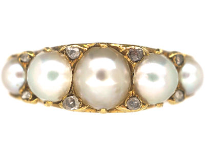Victorian 18ct Gold, Natural Pearl & Rose Diamond Carved Half Hoop Ring