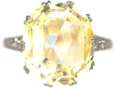 Art Deco 18ct Gold & Platinum, Yellow Sapphire & Diamond Ring