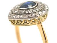 Edwardian 18ct Gold & Platinum, Pear Shaped Sapphire & Rose Diamond Cluster Ring