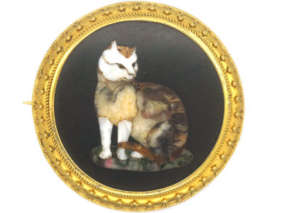 Victorian 18ct Gold Pietra Dura Cat Brooch