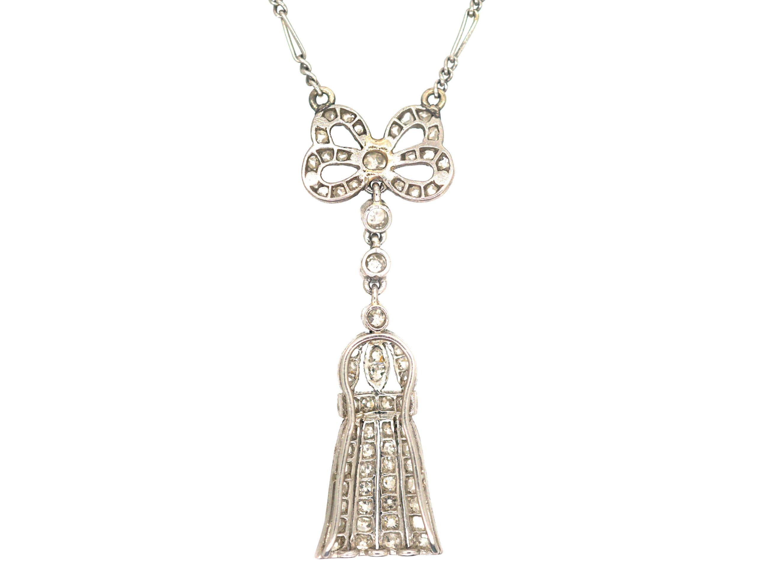 Edwardian Platinum, Diamond Bow & Tassel Pendant on Chain