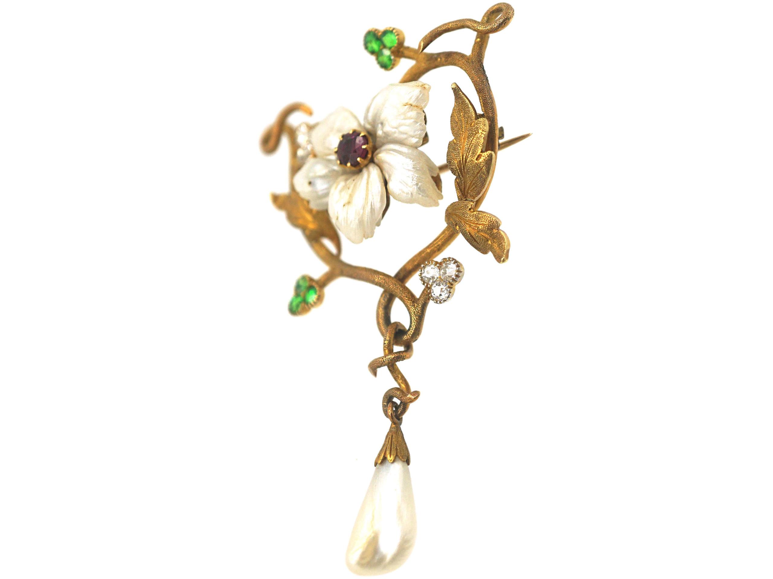 Art Nouveau 18ct Gold Flower Brooch set with Demantoid Garnets,  Mississippi River Pearls & Diamonds