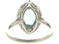 Art Deco Platinum Navette Shaped Aquamarine & Diamond Ring