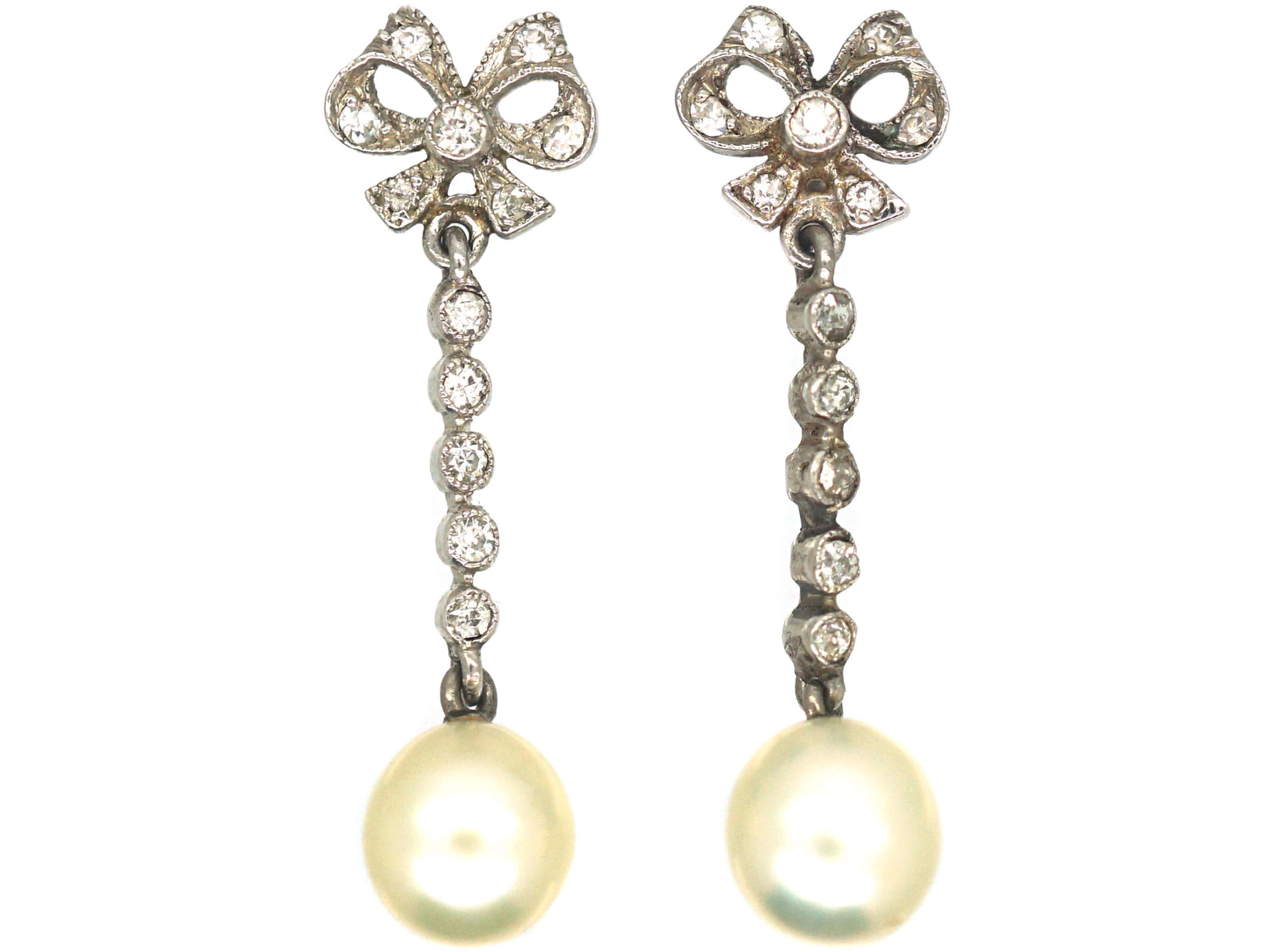 Edwardian Platinum, Diamond & Pearl Bow Drop Earrings