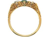 Edwardian 18ct Gold, Emerald & Diamond Three Stone Carved Half Hoop Ring