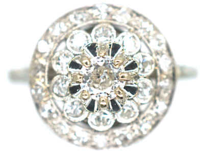 Edwardian Platinum & Diamond Flower Cluster Ring