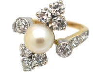 French Retro 18ct Gold & Platinum, Diamond & Pearl Ring