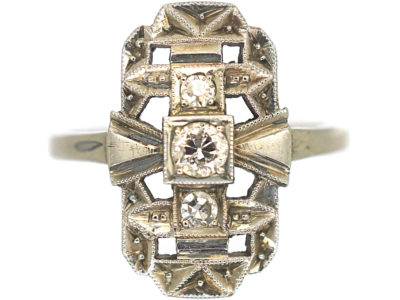 Art Deco 14ct White Gold Rectangular Shaped Ring set with Diamonds