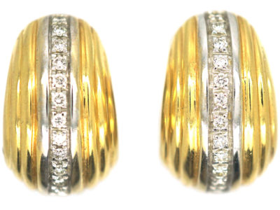 18ct White & Yellow Gold & Diamond Hoop Earrings