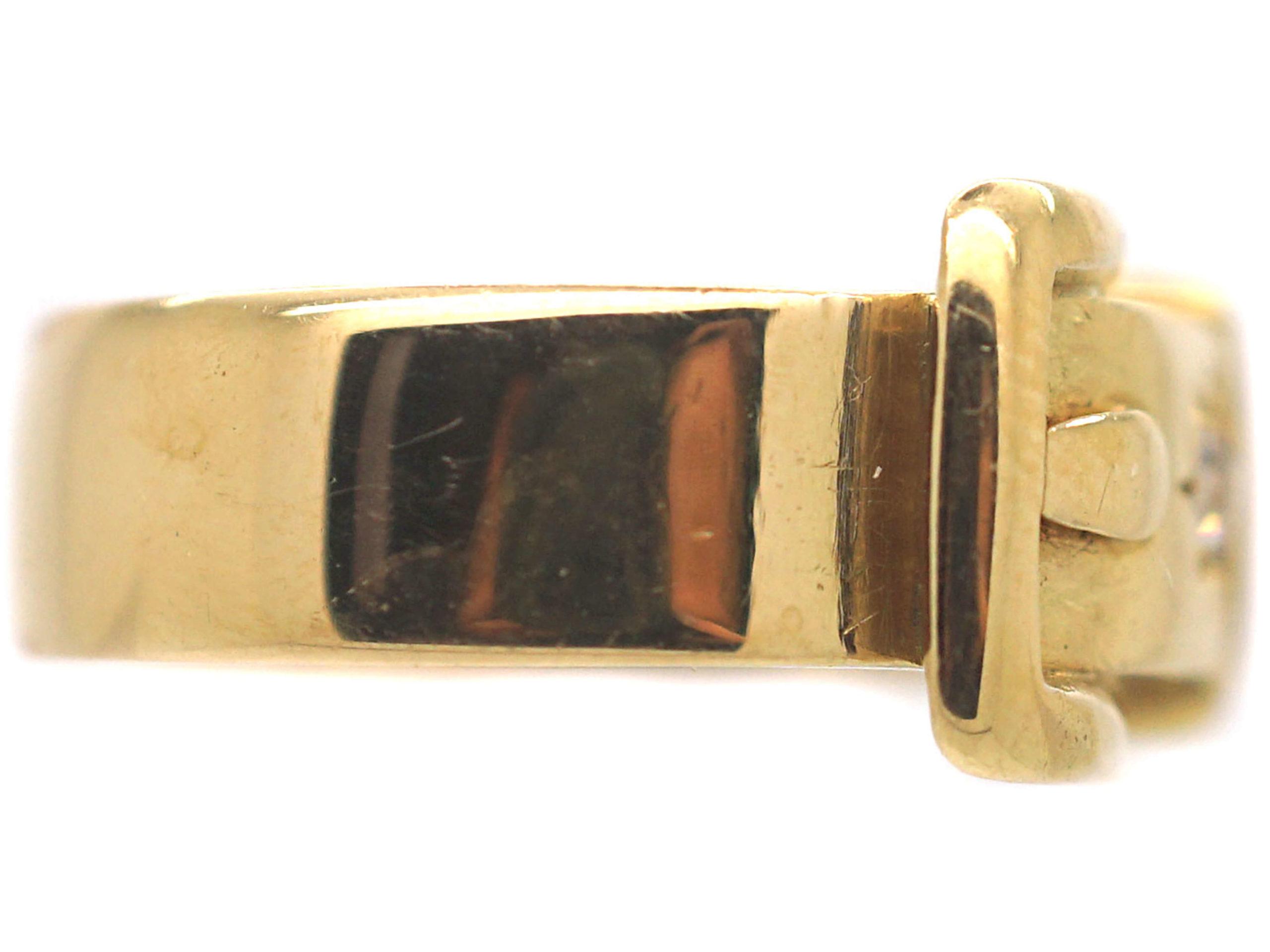 Victorian 18ct Gold Garnet & Diamond Buckle Ring