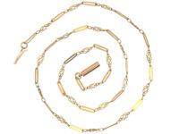 Edwardian 9ct Gold Knot & Tramline Chain