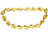 Silver & Red Enamel Lily Pad Necklace by Finn Jensen