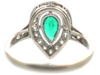 Art Deco Platinum Emerald & Diamond Pear Shaped Ring
