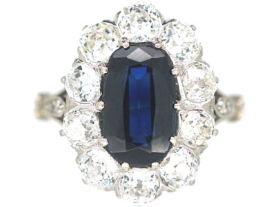 Art Deco Platinum, Sapphire & Diamond Oval Cluster Ring with Split Shoulders