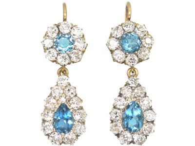 Edwardian 18ct Gold, Aquamarine & Diamond pear Shaped Drop Earrings