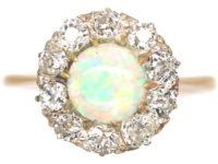 Edwardian 18ct Gold, Opal & Diamond Cluster Ring
