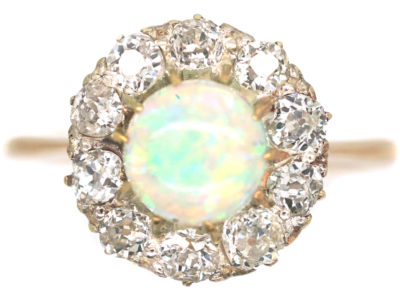 Edwardian 18ct Gold, Opal & Diamond Cluster Ring
