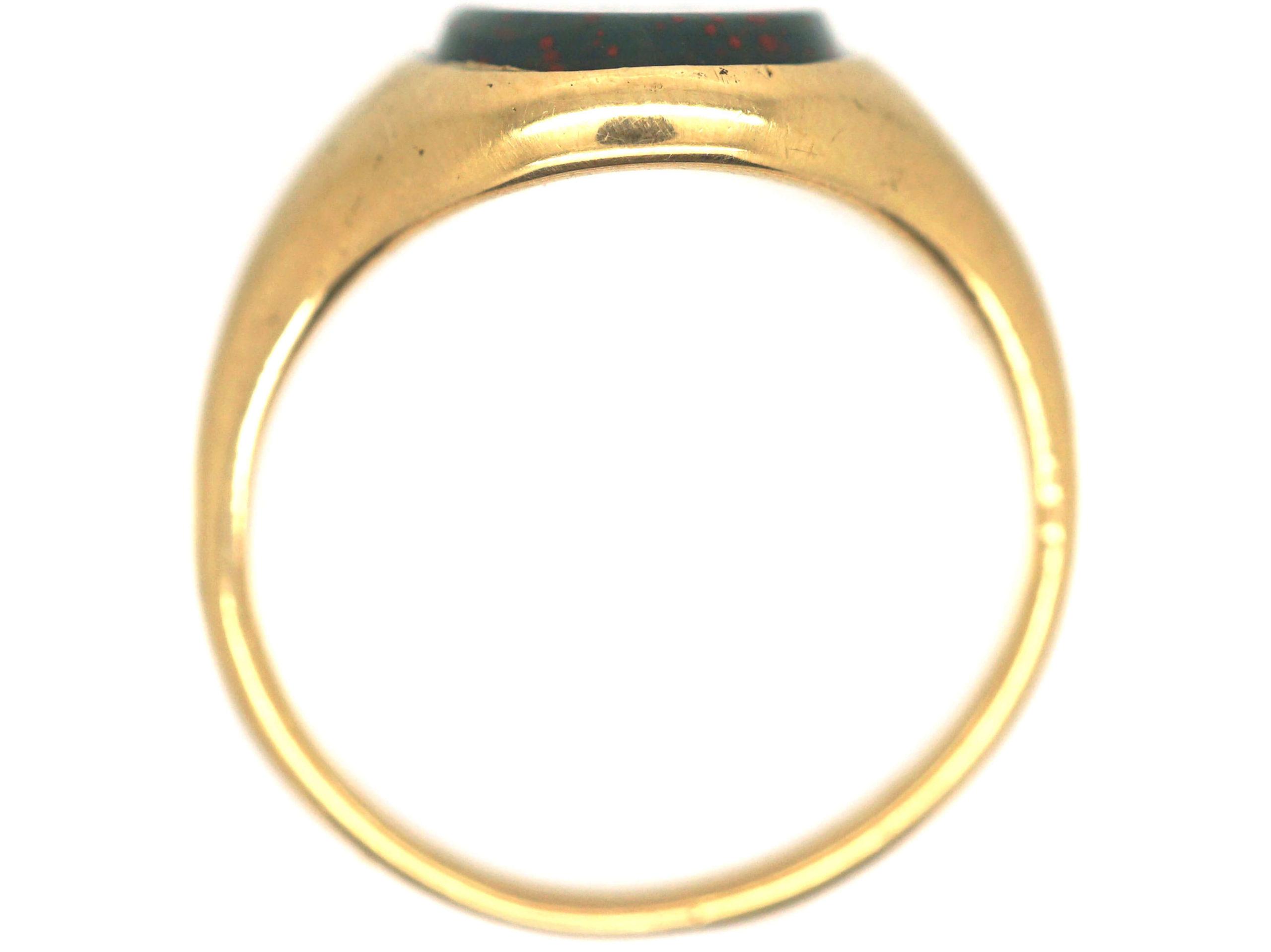 18ct Gold & Bloodstone Plain Signet Ring