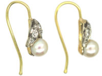 Edwardian 15ct Gold & Platinum, Diamond & Pearl Earrings