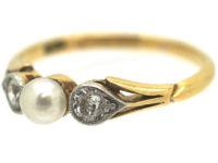Edwardian 18ct Gold & Platinum, Natural Pearl and Diamond Three Stone Ring