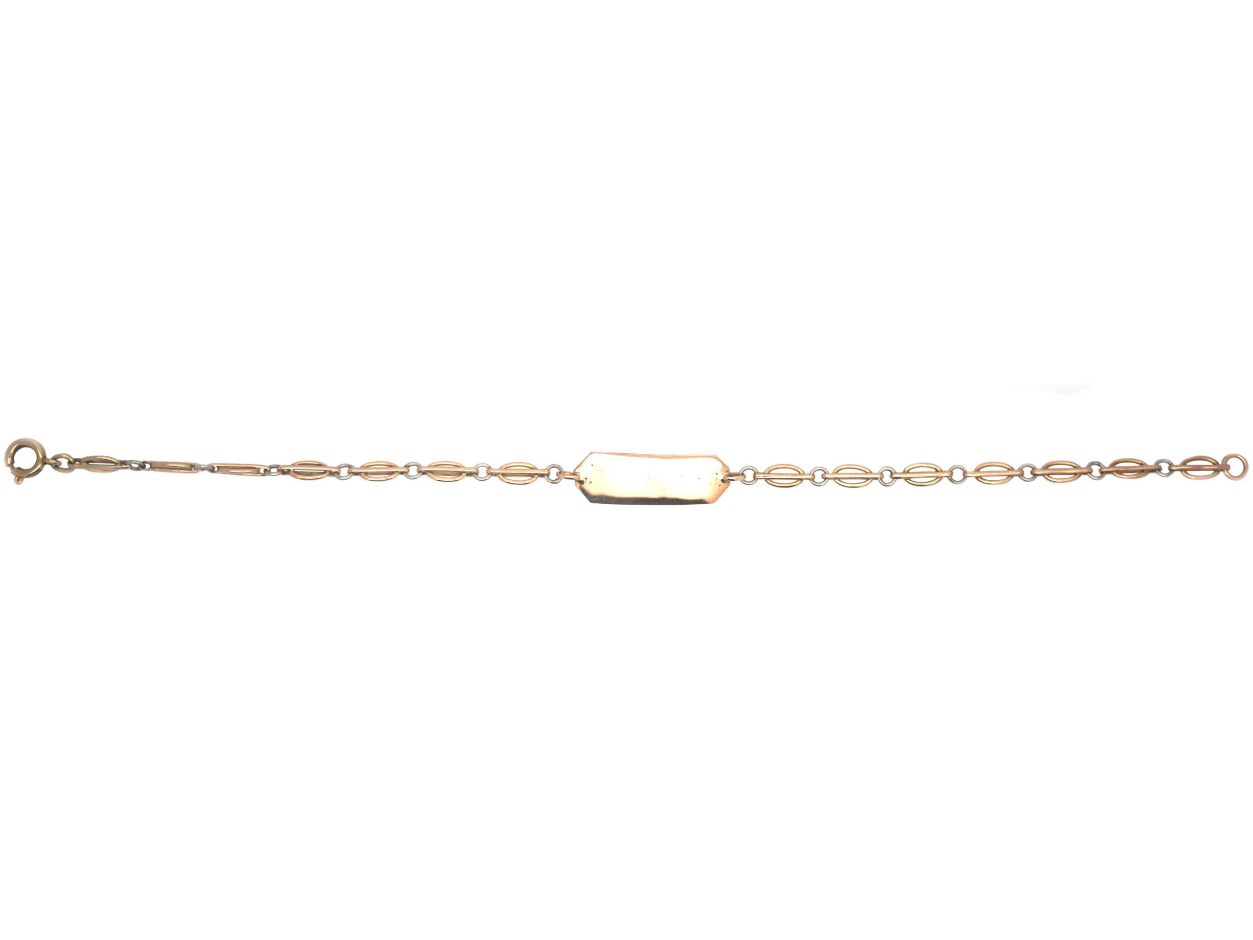 Edwardian 9ct Gold & Platinum Two Colour Bracelet