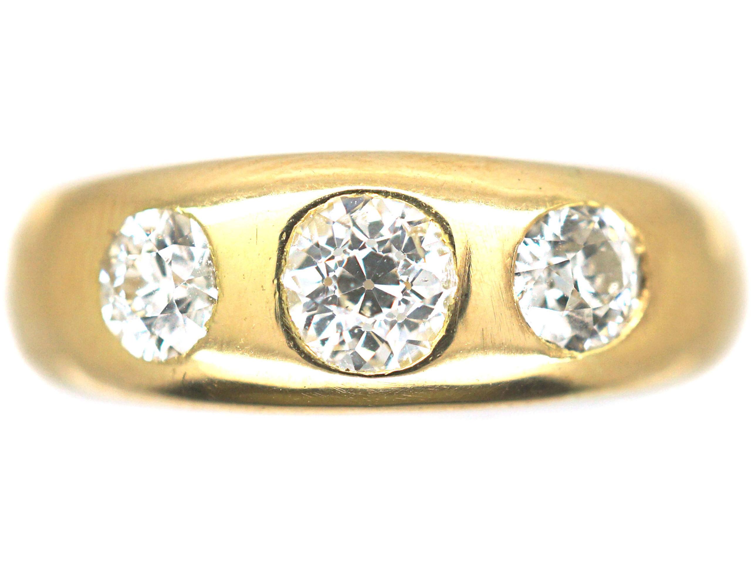Victorian Three Stone Diamond Rub Over Set Ring