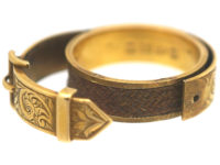 18ct Gold Victorian Buckle Ring Which Opens To Reveal Hair