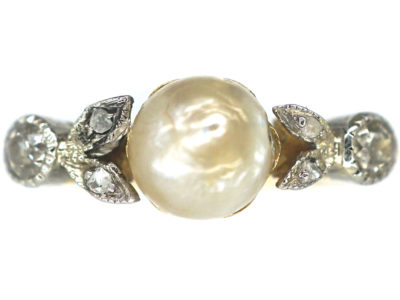 Edwardian 18ct Gold and Platinum Freshwater Pearl and Diamond Ring