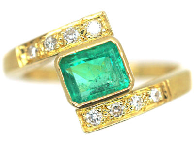 18ct Gold Emerald & Diamond Crossover Ring