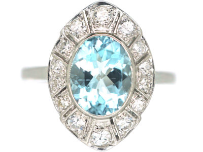 Art Deco Platinum Navette Shaped Aquamarine & Diamond Ring