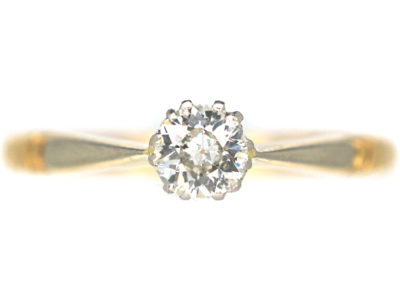 Art Deco 18ct Gold & Platinum Diamond Solitaire Ring