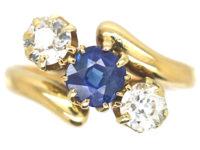 Edwardian 18ct Gold Sapphire & Diamond Crossover Ring