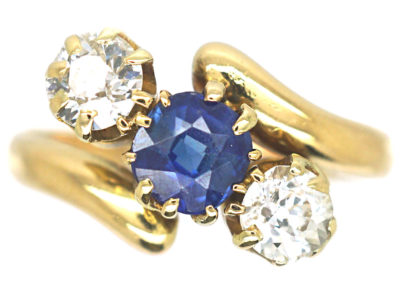 Edwardian 18ct Gold Sapphire & Diamond Crossover Ring