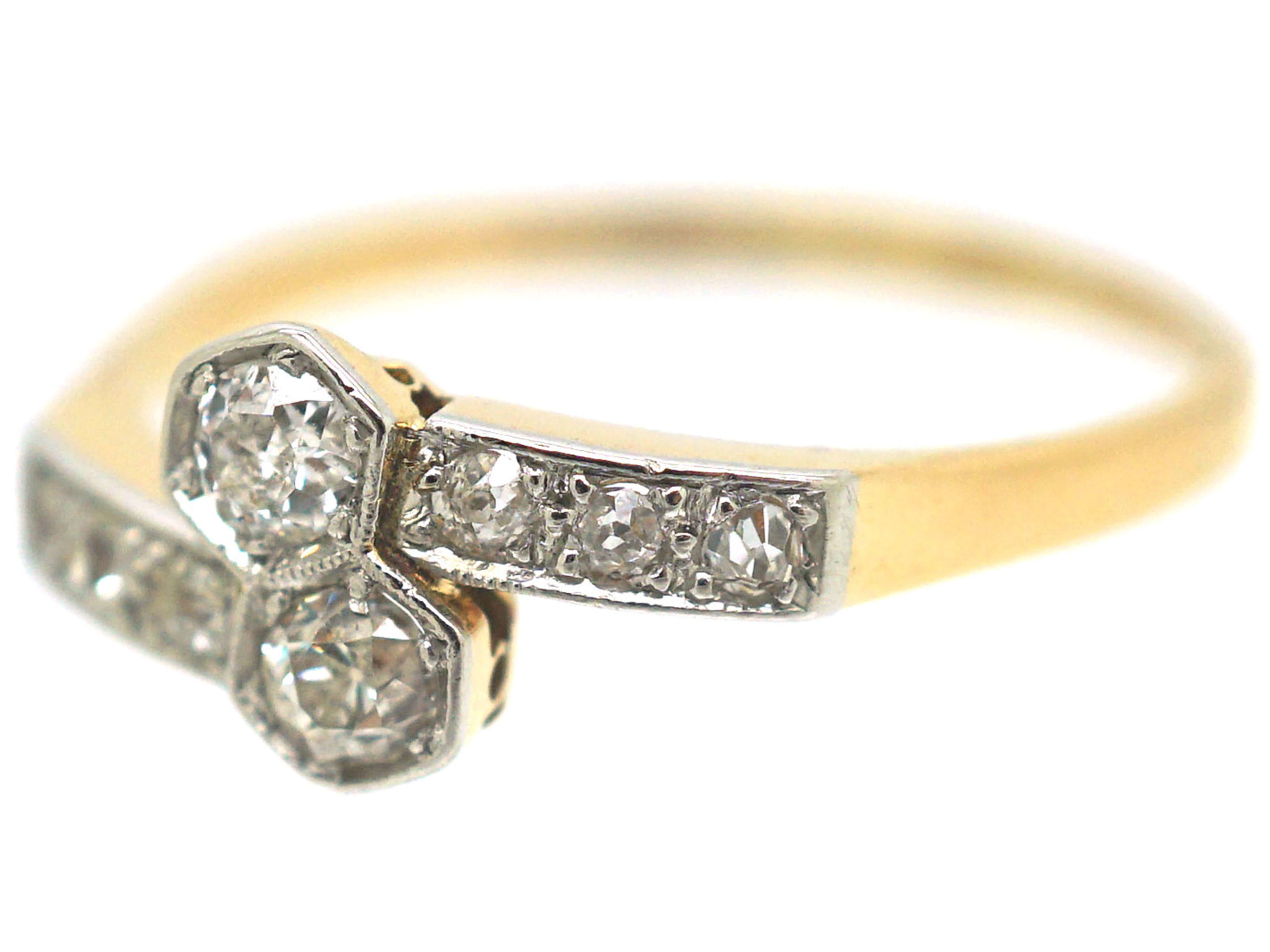 Art Deco 18ct Gold & Platinum Two Stone Diamond Crossover Ring with Diamond Set Shoulders