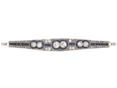 Art Deco 18ct Gold & Platinum, Sapphire & Diamond Bracelet