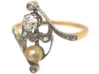 Art Nouveau 18ct Gold & Platinum, Diamond & Natural Pearl Ring