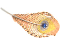 Edwardian Three Colour Gold Peacock Feather Brooch set with a Sapphire