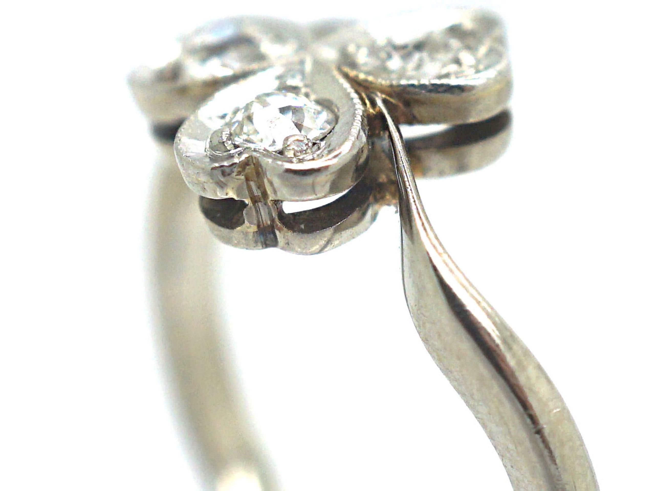 Edwardian 18ct White Gold & Platinum, Diamond Three Leaf Clover Ring