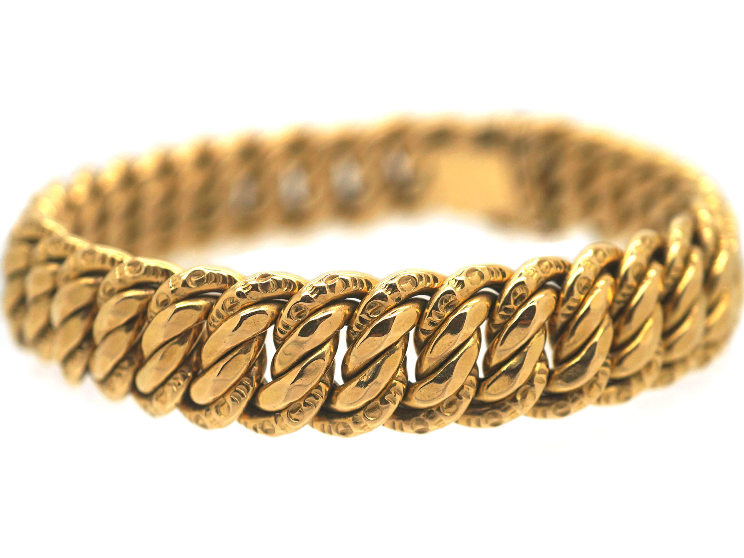 French 18ct Gold Woven Curb Bracelet