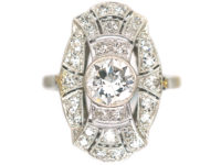 Art Deco Platinum & Diamond Oval Geometric Style Ring