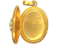 French 18ct Gold Oval Shaped Locket set with Turquoise & a Natural Split Pearl