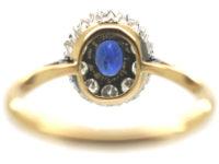 18ct Gold & Platinum, Sapphire & Diamond Oval Cluster Ring