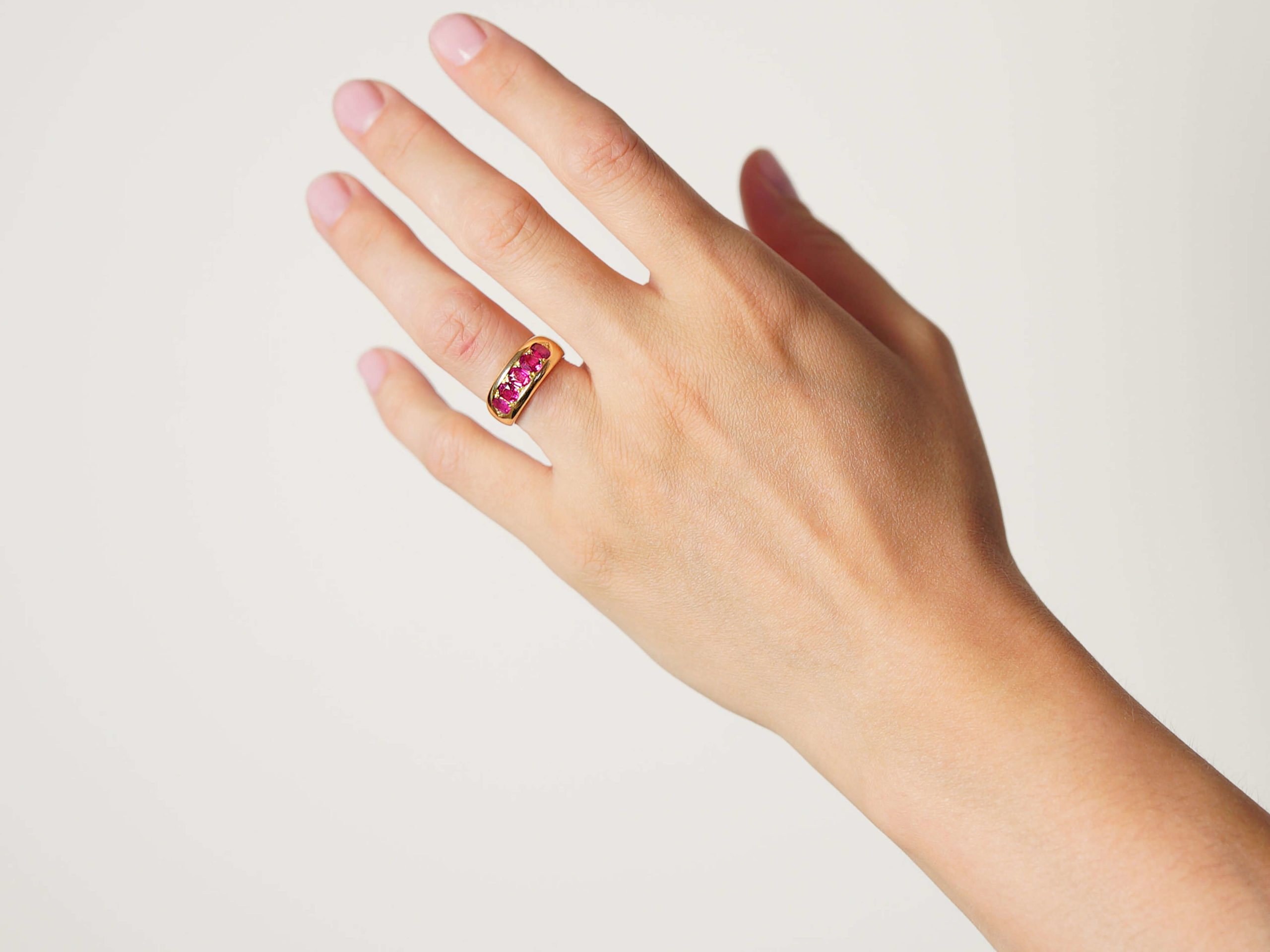 Victorian 18ct Gold, Five Stone Pink Sapphire Ring
