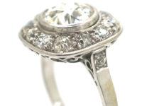 Art Deco Platinum Large Diamond Cluster Ring