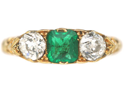 Edwardian 18ct Gold, Emerald & Diamond Three Stone Carved Half Hoop Ring