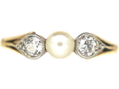 Edwardian 18ct Gold & Platinum, Natural Pearl and Diamond Three Stone Ring